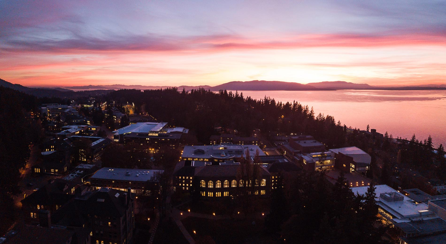 overhead view of Bellingham at sunset